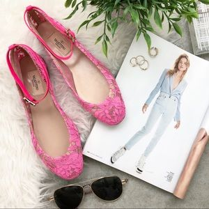 f360f8fa9d6 Valentino Shoes - Valentino Hot Pink Lace Ballet Flats